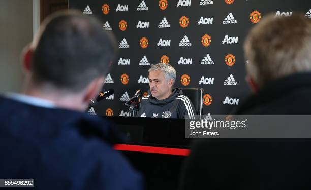 Manager Jose Mourinho of Manchester United speaks during a press conference at Aon Training Complex on September 29 2017 in Manchester England