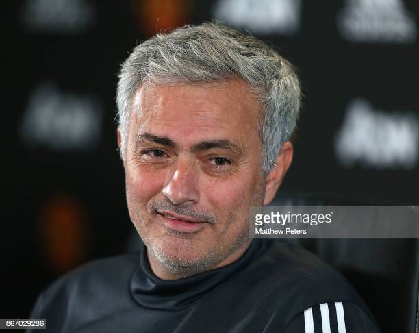 Manager Jose Mourinho of Manchester United speaks during a press conference at Aon Training Complex on October 27 2017 in Manchester England