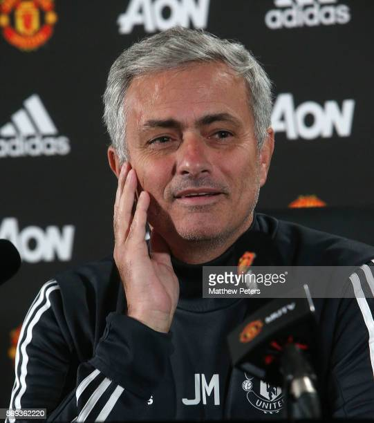 Manager Jose Mourinho of Manchester United speaks during a press conference at Aon Training Complex on November 2 2017 in Manchester England