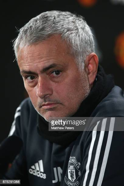 Manager Jose Mourinho of Manchester United speaks during a press conference at Aon Training Complex on November 17 2017 in Manchester England