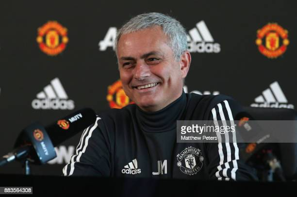 Manager Jose Mourinho of Manchester United speaks during a press conference at Aon Training Complex on December 1 2017 in Manchester England