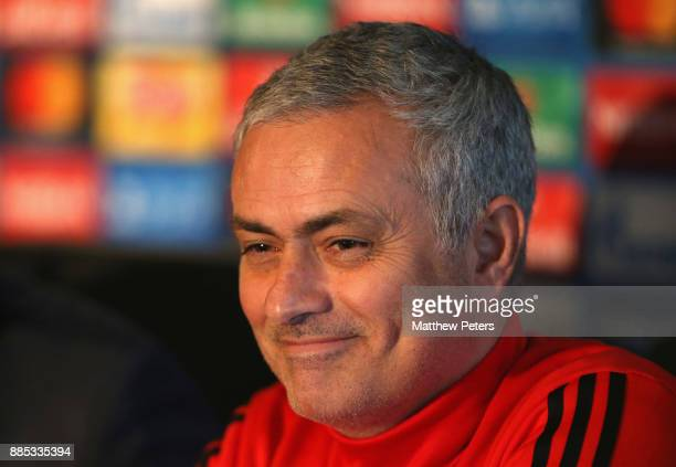 Manager Jose Mourinho of Manchester United speaks during a press conference at Aon Training Complex on December 4 2017 in Manchester England