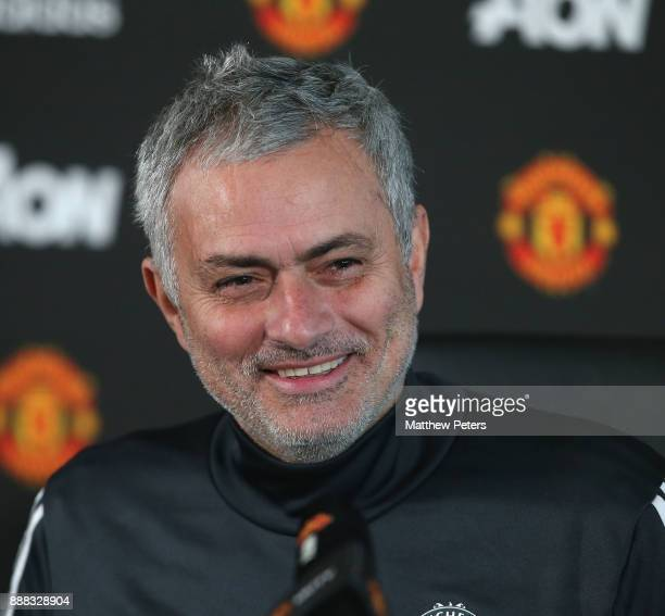 Manager Jose Mourinho of Manchester United speaks during a press conference at Aon Training Complex on December 8 2017 in Manchester England