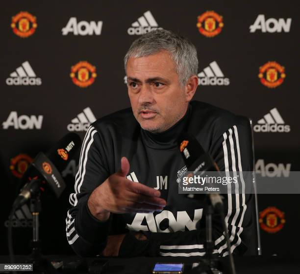 Manager Jose Mourinho of Manchester United speaks during a press conference at Aon Training Complex on December 12 2017 in Manchester England