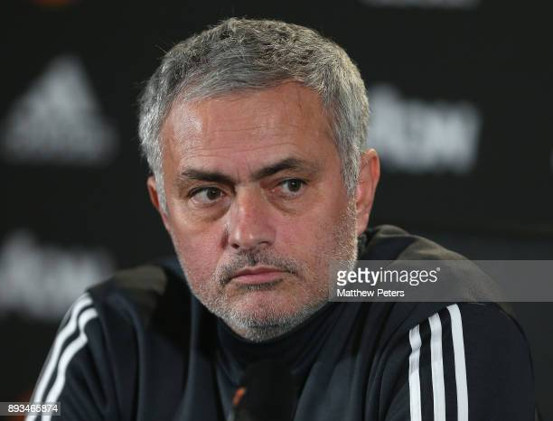 Manager Jose Mourinho of Manchester United speaks during a press conference at Aon Training Complex on December 15 2017 in Manchester England