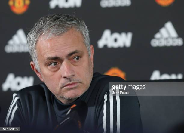 Manager Jose Mourinho of Manchester United speaks during a press conference at Aon Training Complex on December 22 2017 in Manchester England