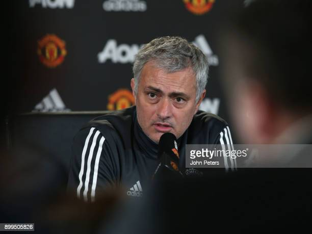 Manager Jose Mourinho of Manchester United speaks during a press conference at Aon Training Complex on December 29 2017 in Manchester England