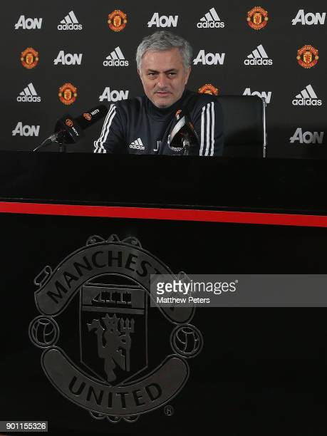 Manager Jose Mourinho of Manchester United speaks during a press conference at Aon Training Complex on January 4 2018 in Manchester England