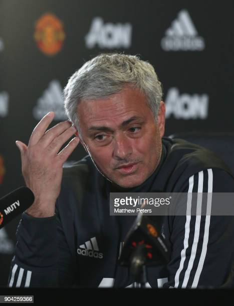 Manager Jose Mourinho of Manchester United speaks during a press conference at Aon Training Complex on January 12 2018 in Manchester England
