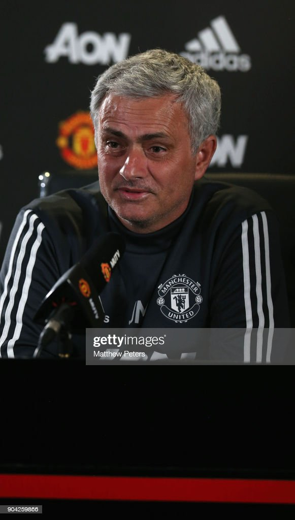 Manager Jose Mourinho of Manchester United speaks during a press conference at Aon Training Complex on January 12, 2018 in Manchester, England.