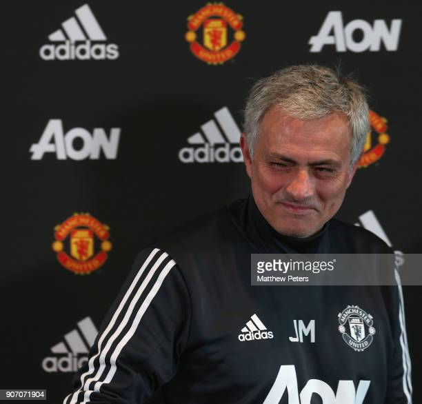 Manager Jose Mourinho of Manchester United speaks during a press conference at Aon Training Complex on January 19 2018 in Manchester England