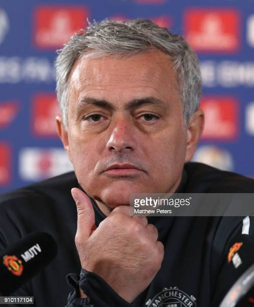 Manager Jose Mourinho of Manchester United speaks during a press conference at Aon Training Complex on January 25 2018 in Manchester England