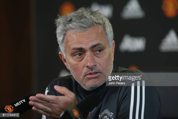 Manager Jose Mourinho of Manchester United speaks during a press conference at Aon Training Complex on January 29 2018 in Manchester England