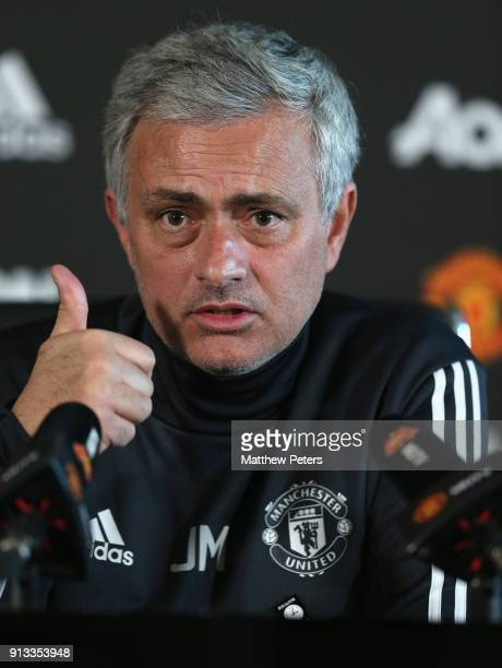 Manager Jose Mourinho of Manchester United speaks during a press conference at Aon Training Complex on February 2 2018 in Manchester England