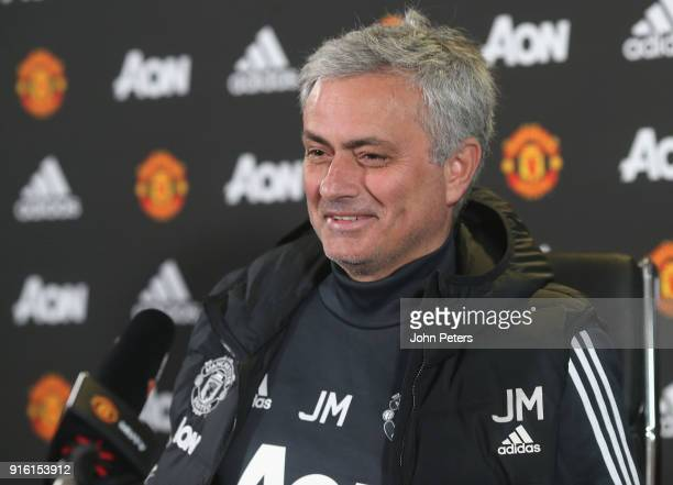 Manager Jose Mourinho of Manchester United speaks during a press conference at Aon Training Complex on February 9 2018 in Manchester England