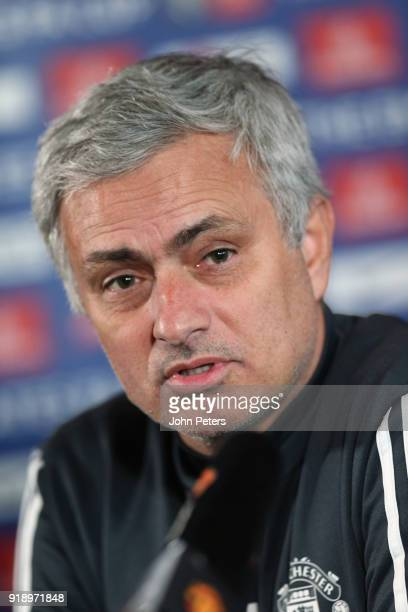 Manager Jose Mourinho of Manchester United speaks during a press conference at Aon Training Complex on February 16 2018 in Manchester England