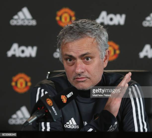 Manager Jose Mourinho of Manchester United speaks during a press conference at Aon Training Complex on February 23 2018 in Manchester England