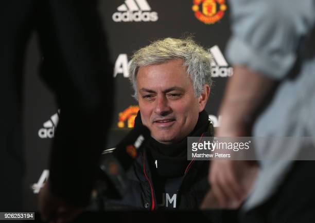 Manager Jose Mourinho of Manchester United speaks during a press conference at Aon Training Complex on March 2 2018 in Manchester England