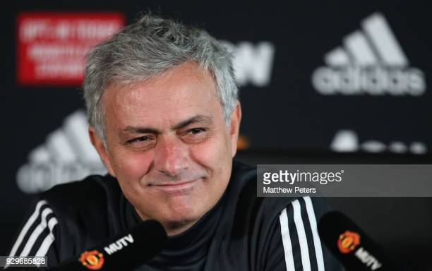 Manager Jose Mourinho of Manchester United speaks during a press conference at Aon Training Complex on March 9 2018 in Manchester England