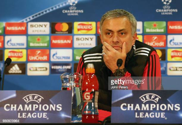 Manager Jose Mourinho of Manchester United speaks during a press conference at Old Trafford on March 12 2018 in Manchester England