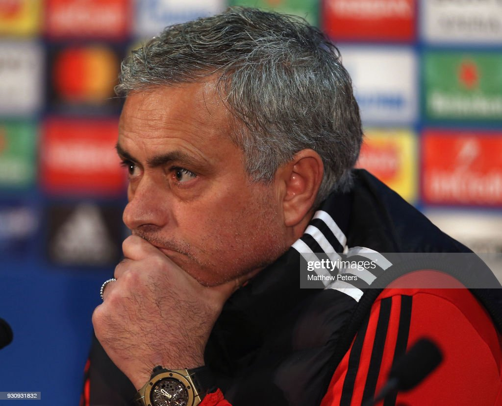 Manager Jose Mourinho of Manchester United speaks during a press conference at Old Trafford on March 12, 2018 in Manchester, England.