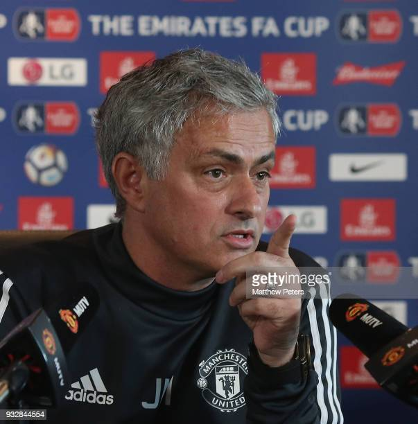 Manager Jose Mourinho of Manchester United speaks during a press conference at Aon Training Complex on March 16 2018 in Manchester England