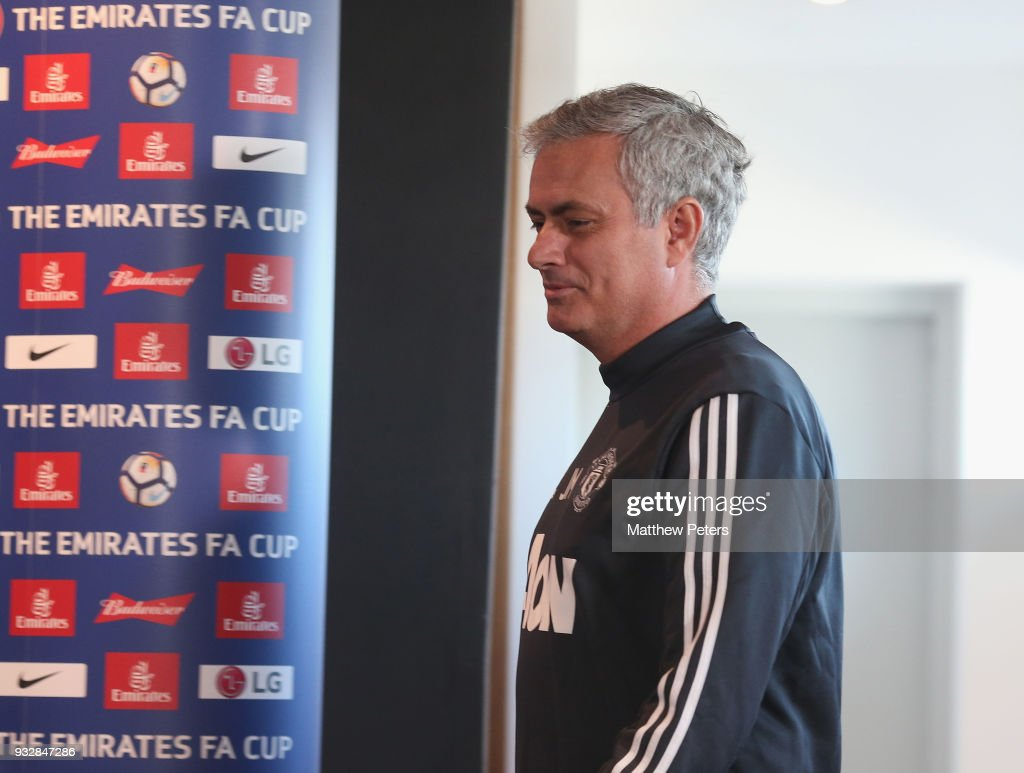 Manager Jose Mourinho of Manchester United speaks during a press conference at Aon Training Complex on March 16, 2018 in Manchester, England.