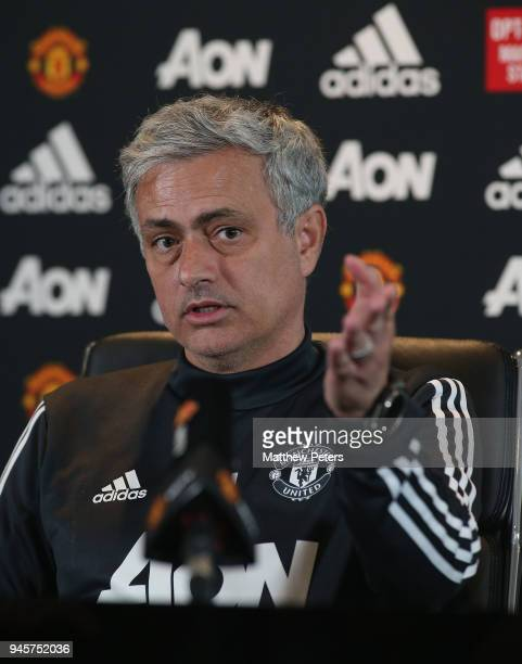 Manager Jose Mourinho of Manchester United speaks during a press conference at Aon Training Complex on April 13 2018 in Manchester England
