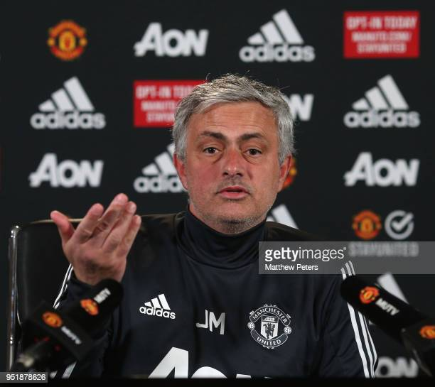 Manager Jose Mourinho of Manchester United speaks during a press conference at Aon Training Complex on April 27 2018 in Manchester England