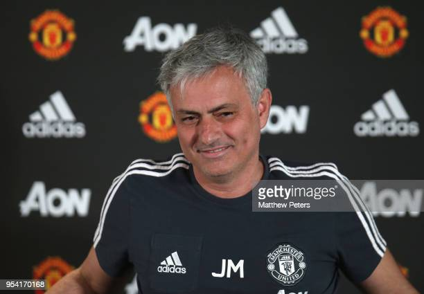 Manager Jose Mourinho of Manchester United speaks during a press conference at Aon Training Complex on May 3 2018 in Manchester England