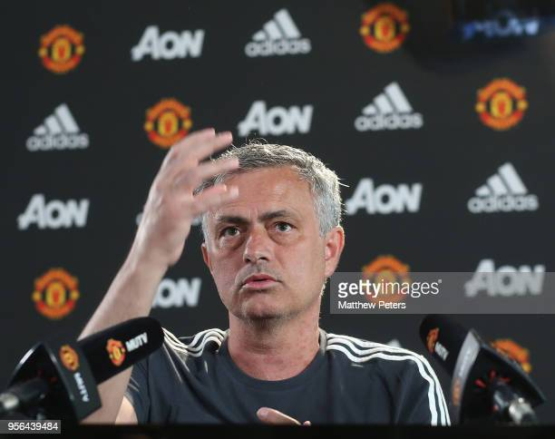 Manager Jose Mourinho of Manchester United speaks during a press conference at Aon Training Complex on May 9, 2018 in Manchester, England.