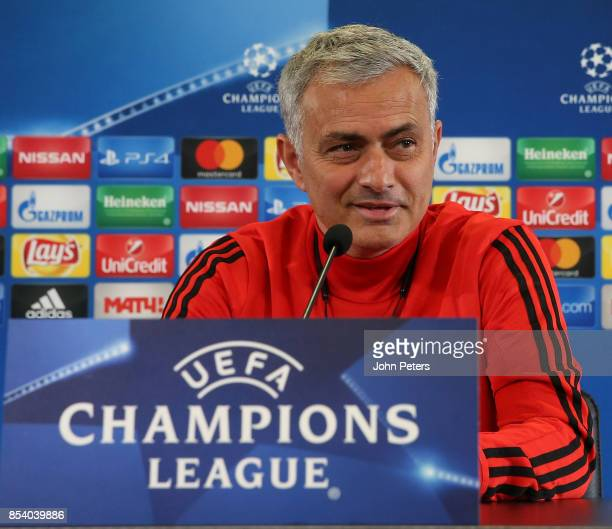 Manager Jose Mourinho of Manchester United speaks during a press conference ahead of their UEFA Champions League match against CSKA Moscow at VEB...