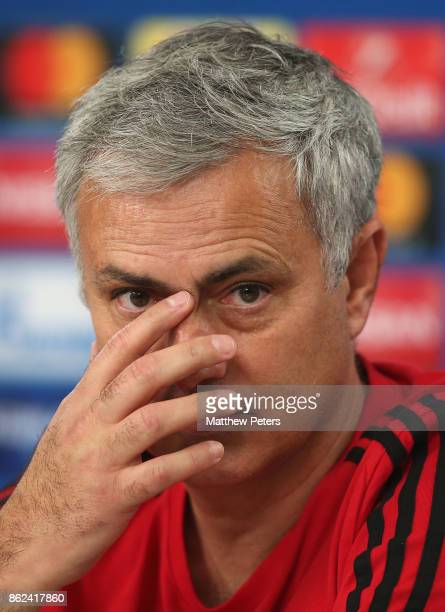 Manager Jose Mourinho of Manchester United speaks during a press conference ahead of their UEFA Champions League match against Benfica on October 17...