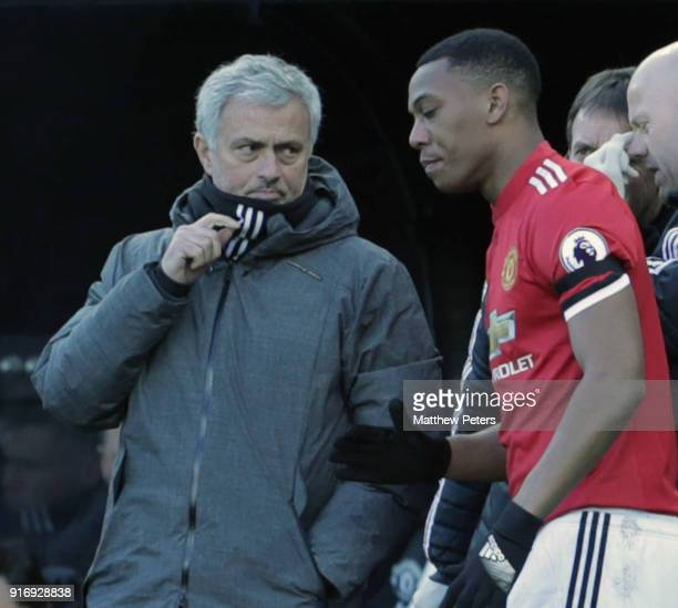 Manager Jose Mourinho of Manchester United speaks to Anthony Martial during the Premier League match between Newcastle United and Manchester United...