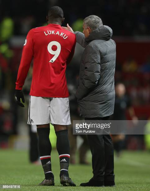 Manager Jose Mourinho of Manchester United speaks to Romelu Lukaku befpre the second half during the Premier League match between Manchester United...