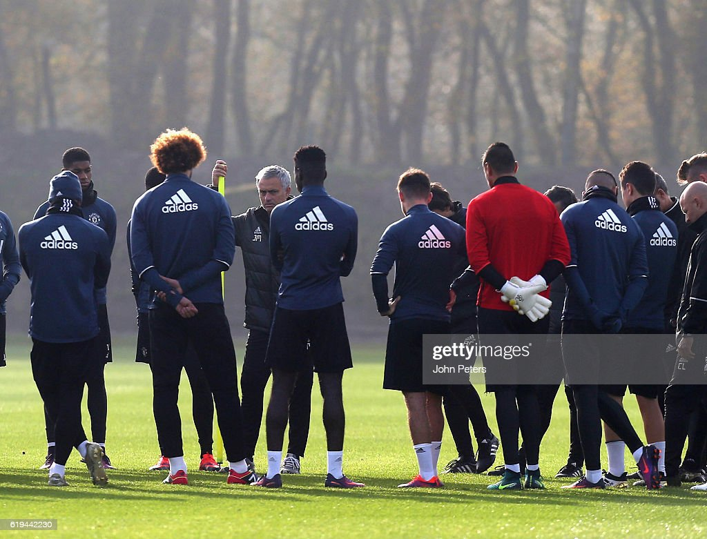 Manager Jose Mourinho of Manchester United speaks to the squad during a first team training session at Aon Training Complex on October 31, 2016 in Manchester, England.