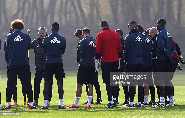 Manager Jose Mourinho of Manchester United speaks to the squad during a first team training session at Aon Training Complex on October 31 2016 in...