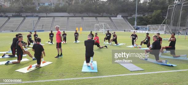 Manager Jose Mourinho of Manchester United takes part in a first team training session as part of their pre-season tour of the USA at UCLA on July...