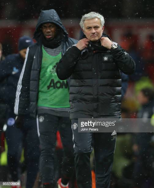 Manager Jose Mourinho of Manchester United walks off after the Emirates FA Cup Quarter Final match between Manchester United and Brighton Hove Albion...