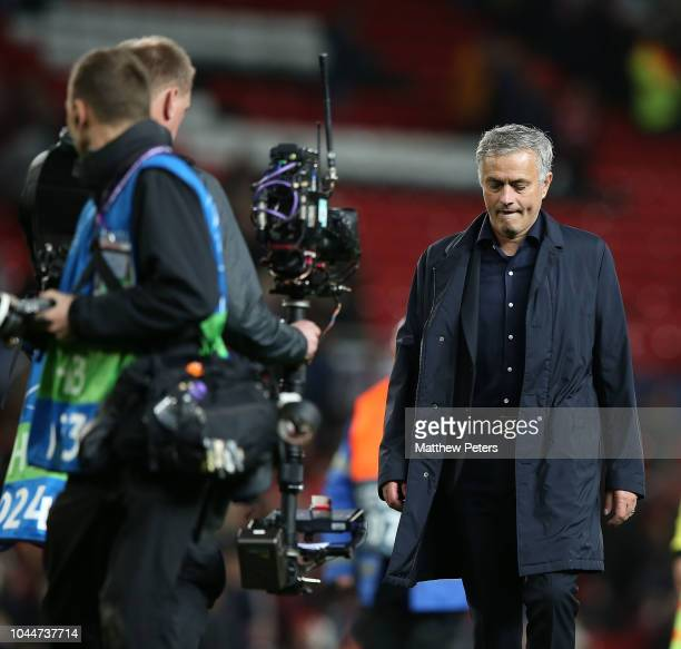 Manager Jose Mourinho of Manchester United walks off after the Group H match of the UEFA Champions League between Manchester United and Valencia at...