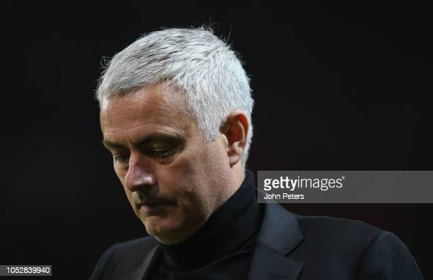Manager Jose Mourinho of Manchester United walks off after the Group H match of the UEFA Champions League between Manchester United and Juventus at...