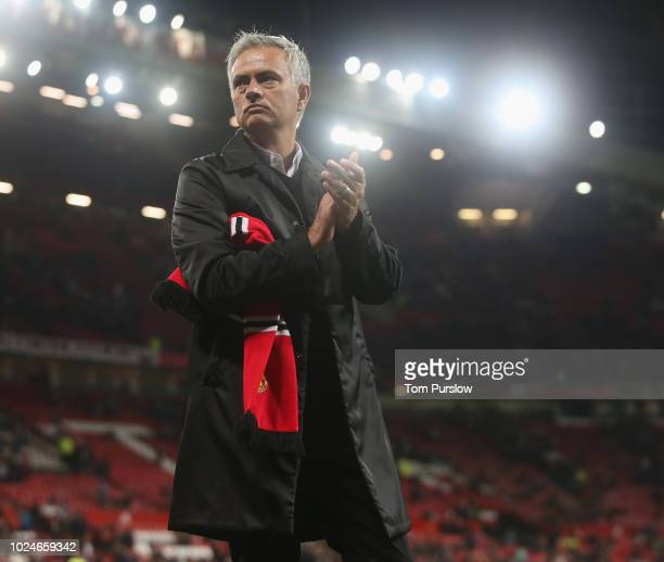 Manager Jose Mourinho of Manchester United walks off after the Premier League match between Manchester United and Tottenham Hotspur at Old Trafford...