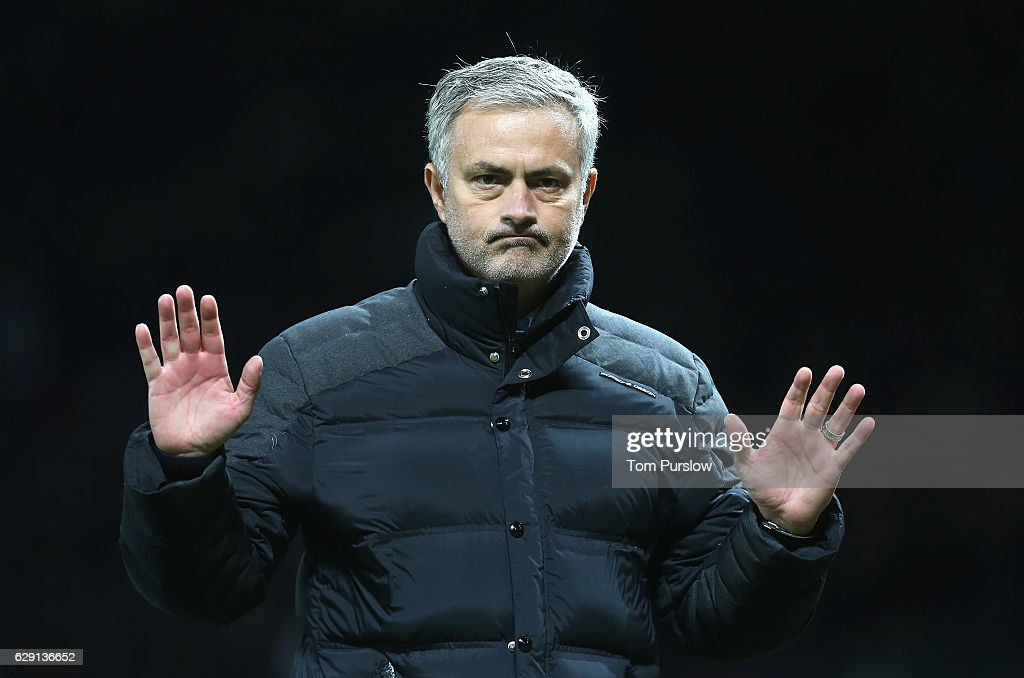 Manager Jose Mourinho of Manchester United walks off after the Premier League match between Manchester United and Tottenham Hotspur at Old Trafford on December 11, 2016 in Manchester, England.