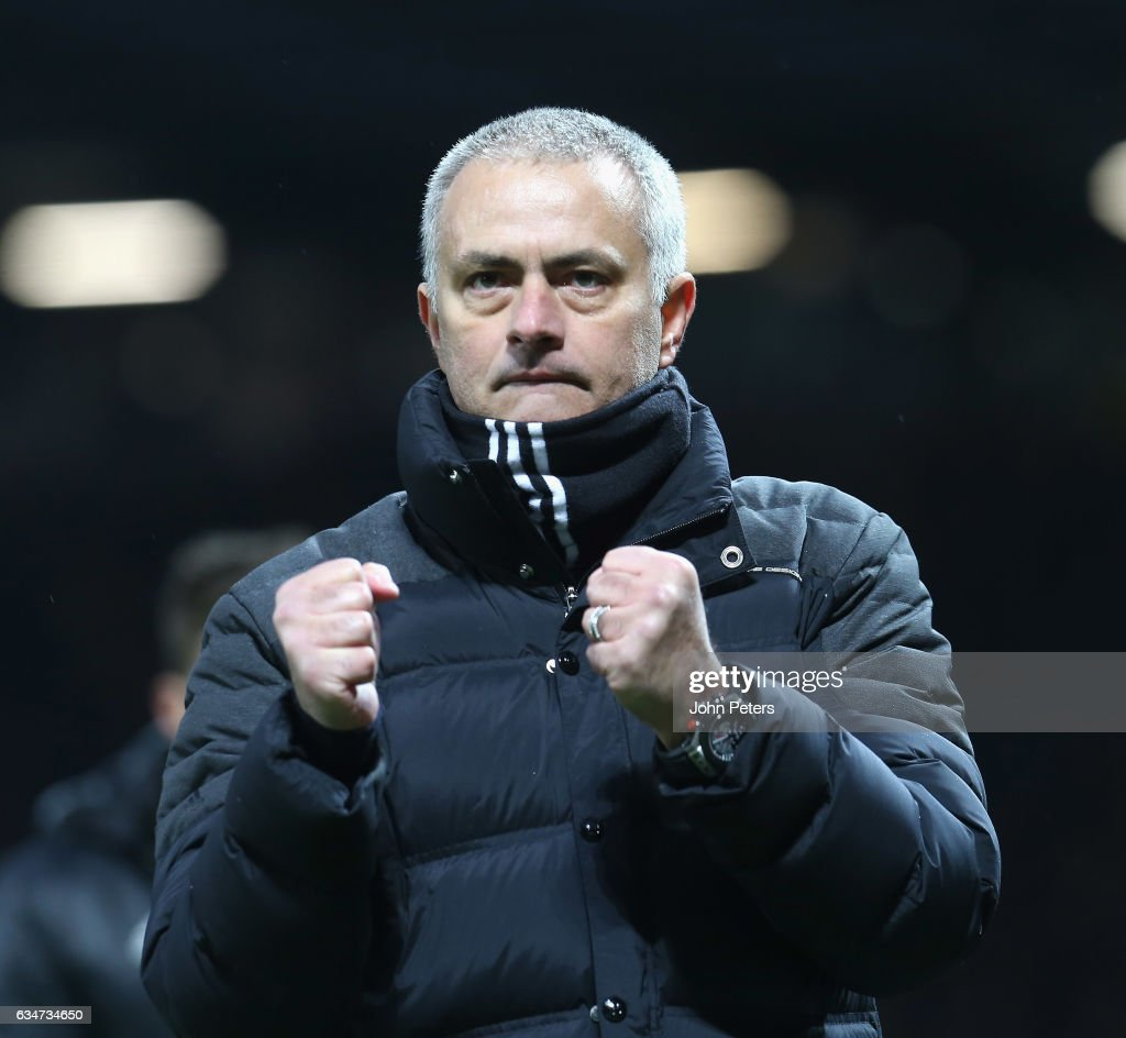 Manager Jose Mourinho of Manchester United walks off after the Premier League match between Manchester United and Watford at Old Trafford on February 11, 2017 in Manchester, England.