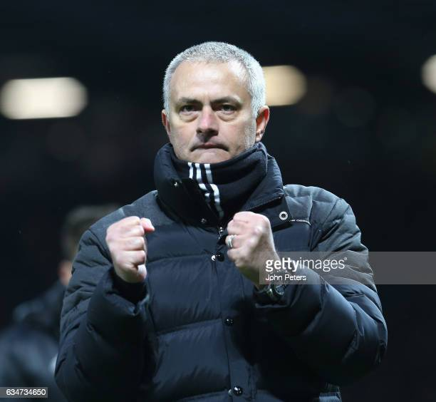 Manager Jose Mourinho of Manchester United walks off after the Premier League match between Manchester United and Watford at Old Trafford on February...