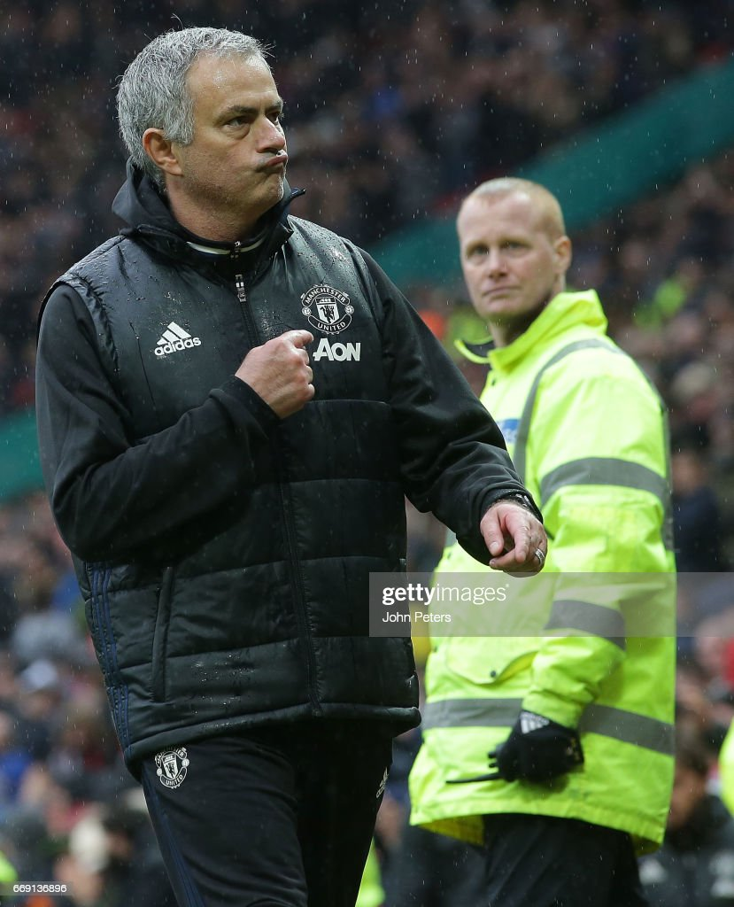 Manager Jose Mourinho of Manchester United walks off after the Premier League match between Manchester United and Chelsea at Old Trafford on April 16, 2017 in Manchester, England.