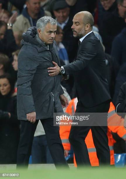 Manager Jose Mourinho of Manchester United walks off after the Premier League match between Manchester City and Manchester United at Etihad Stadium...
