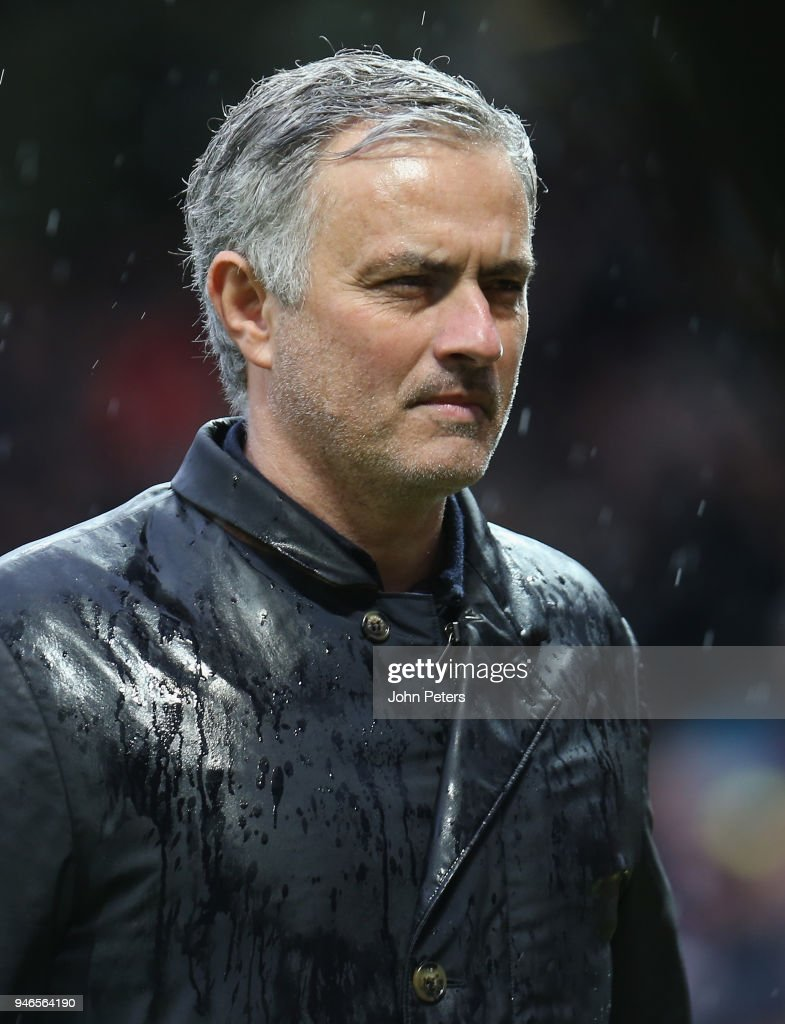 Manager Jose Mourinho of Manchester United walks off after the Premier League match between Manchester United and West Bromwich Albion at Old Trafford on April 15, 2018 in Manchester, England.