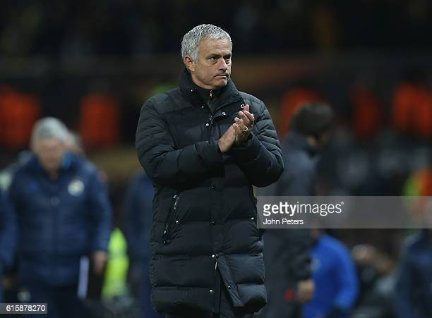 Manager Jose Mourinho of Manchester United walks off after the UEFA Europa League match between Manchester United FC and Fenerbahce SK at Old...