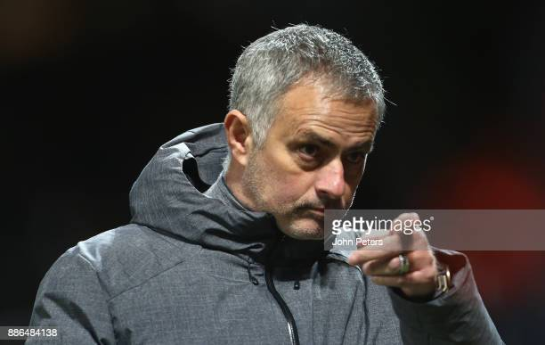Manager Jose Mourinho of Manchester United walks off after the UEFA Champions League group A match between Manchester United and CSKA Moskva at Old...